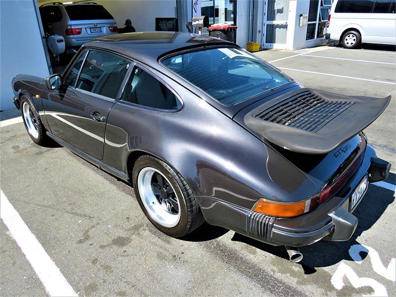 Exterior detailing of vintage Porsche