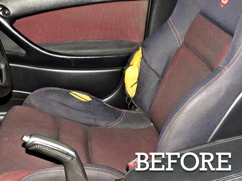 Doctor Cuts vehicle repairs - ripped seat before